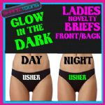 LADIES KNICKERS BRIEFS PERSONALISED LADS STAG PARTY USHER GLOW IN THE DARK